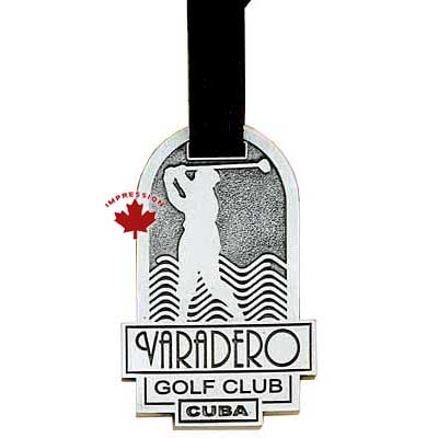 Pewter Golf Bag Tag With A Leather Strap