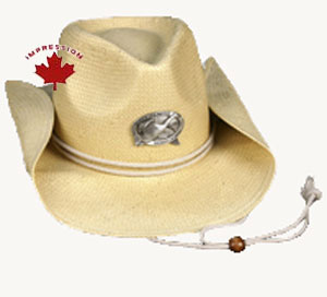 Straw Cowboy Hat With Your Custom Pewter Crest